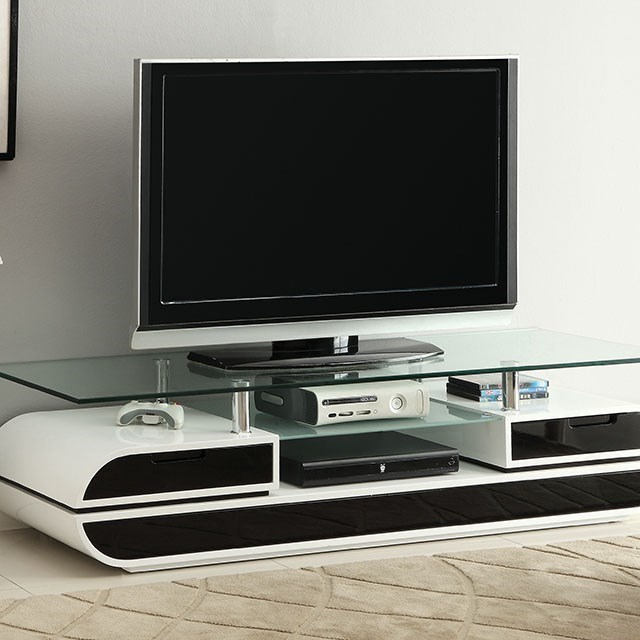 furniture of america evos 63 glass top tv console rooms for less