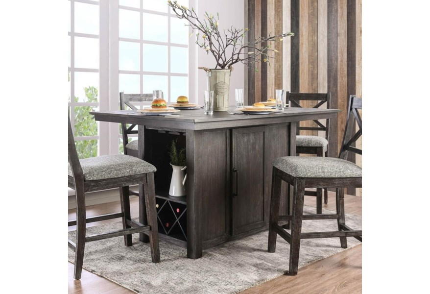Furniture Of America Faulkton Counter Height Table With Wine Bottle Storage Dream Home Interiors Pub Tables