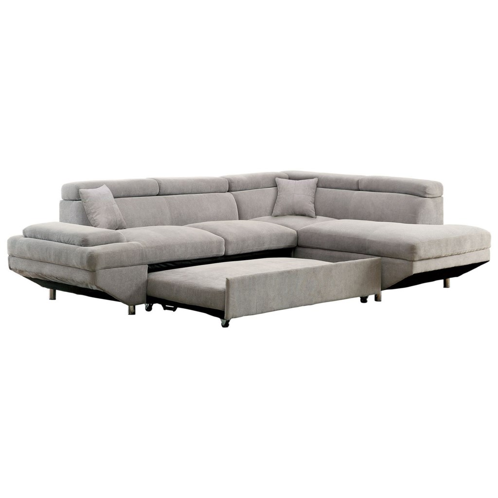 Furniture Of America Foreman Contemporary Sectional With Pull Out