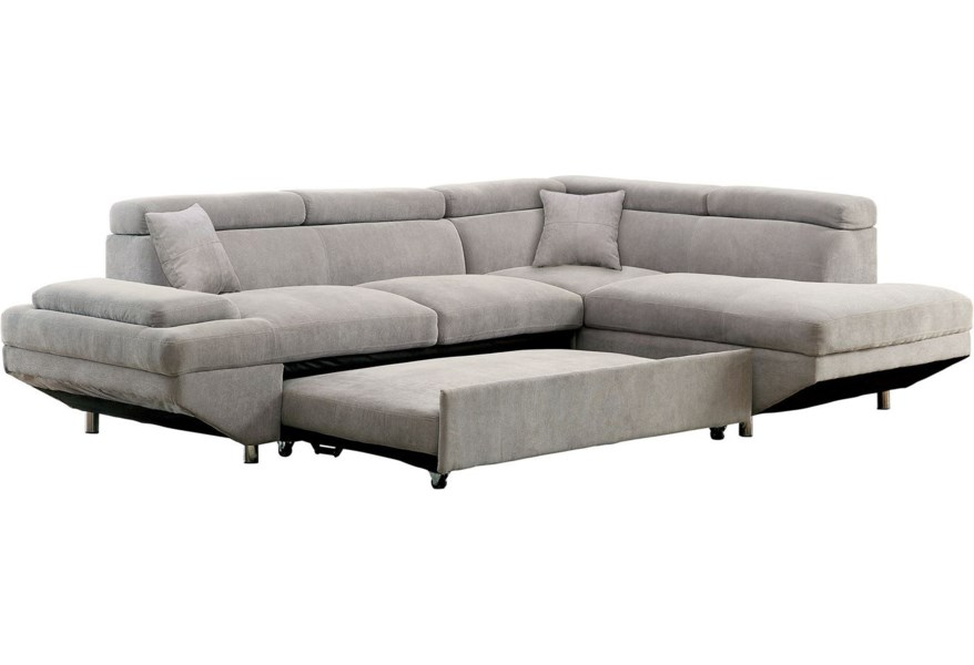 Furniture Of America - FOA Foreman CM6124GY-SECTIONAL Contemporary Sectional With Pull Out Sleeper | Del Sol Furniture | Sectional Sofas