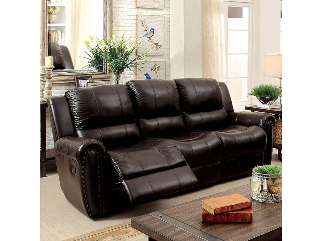 Furniture of America Foxboro Transitional Leather Match Reclining ...