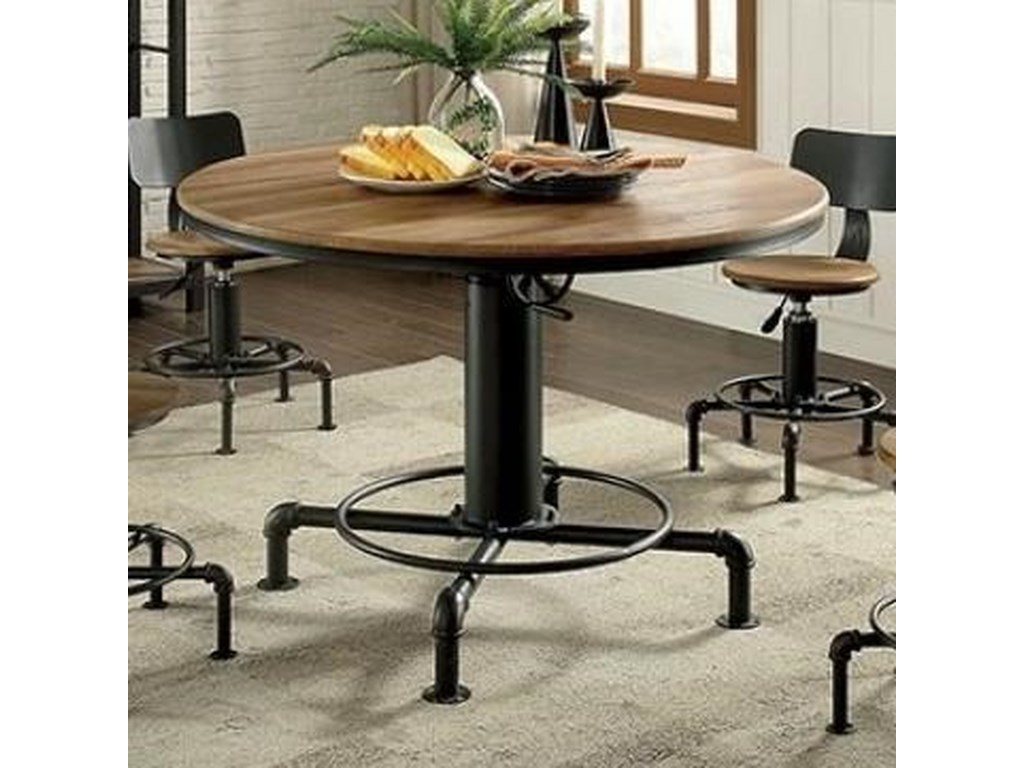 Furniture Of America Fran Modern Round Dining Table With Adjule Height