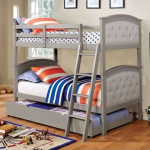 Furniture Of America Freda Cm Bk715gy Tr452 Gy Button Tufted Twin Over Twin Bunk Bed With Trundle Corner Furniture Bunk Beds