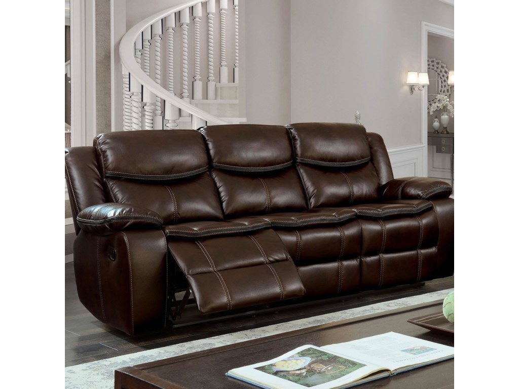 Furniture Of America Gatria Casual Faux Leather Reclining Sofa
