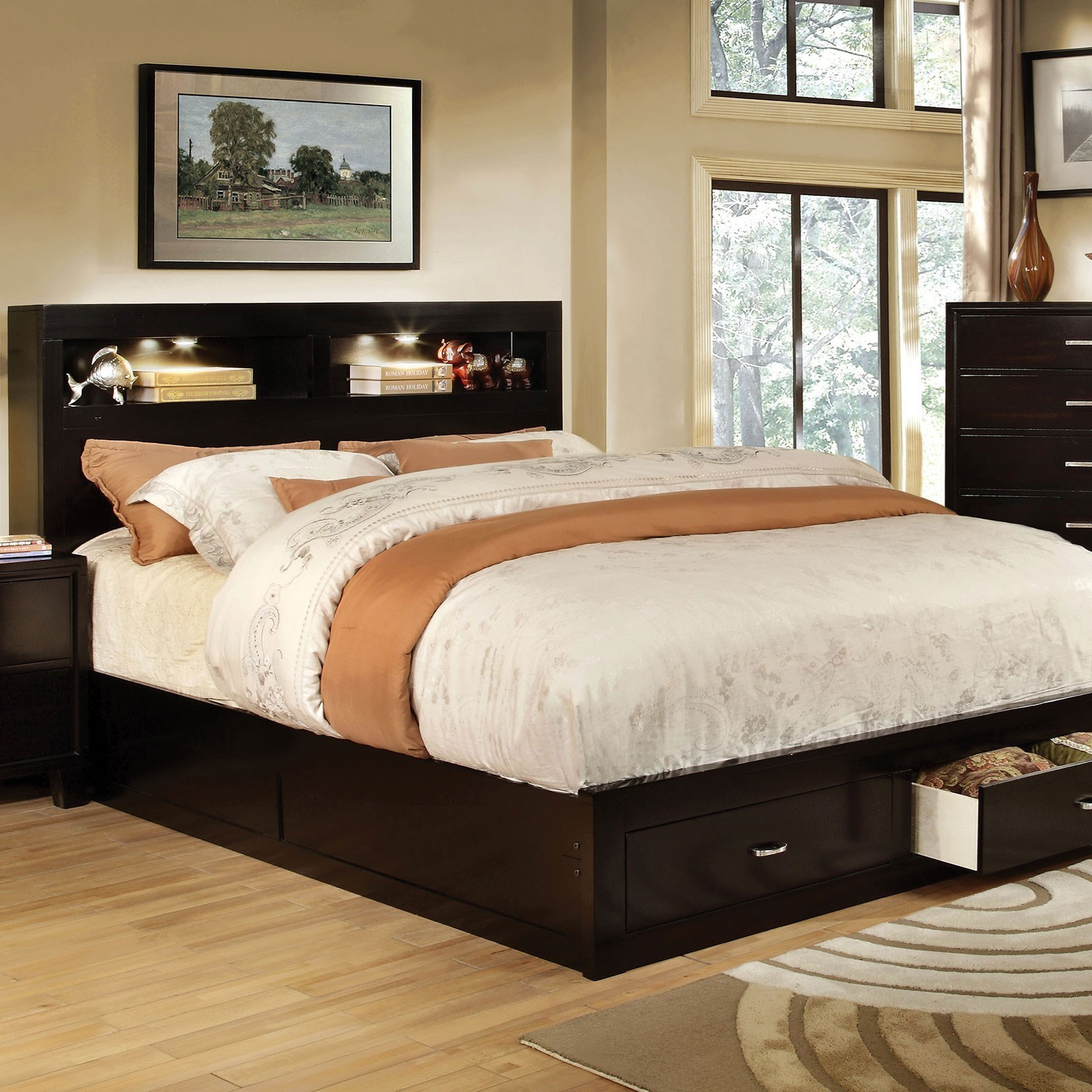 Gerico Ii Contemporary King Bookcase Bed With Footboard Storage By Furniture Of America At Furniture Superstore Nm