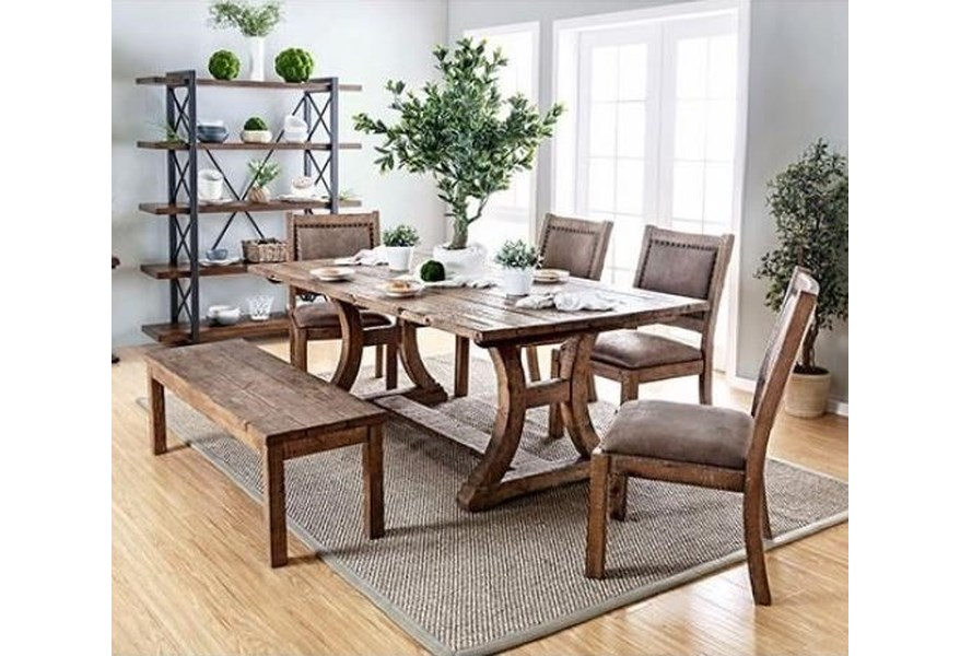 Gianna Table, 4 Chairs, and Bench