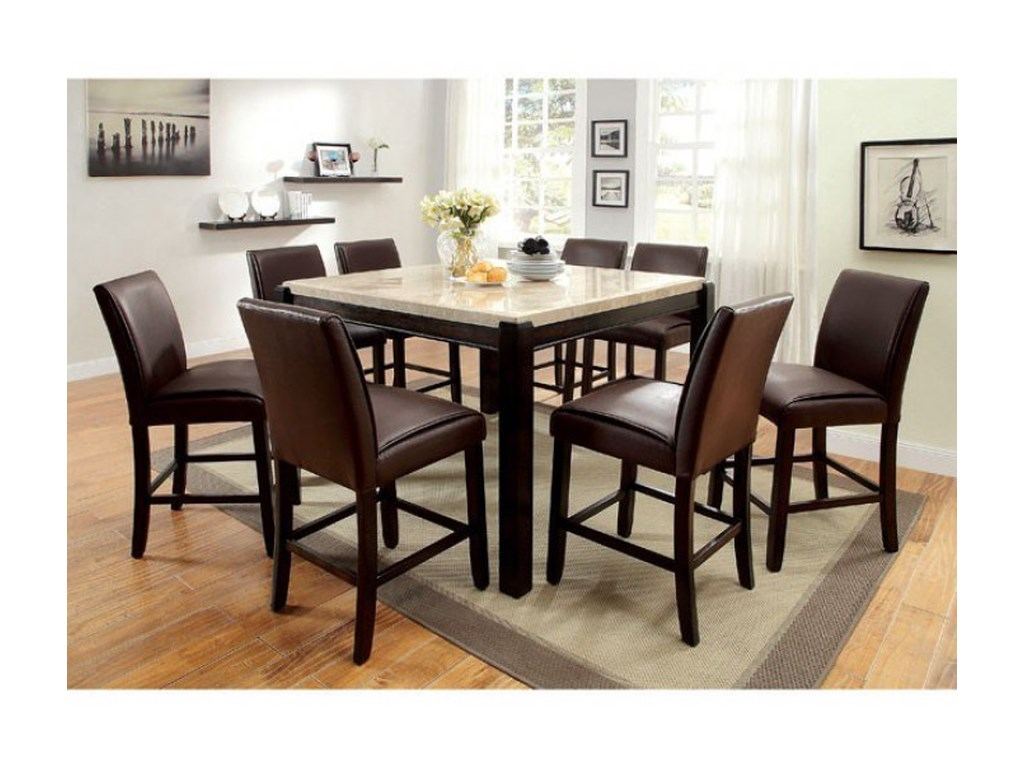 Furniture Of America Gladstone II Contemporary 9 Piece Counter Height Dining Set With Marble Table Top