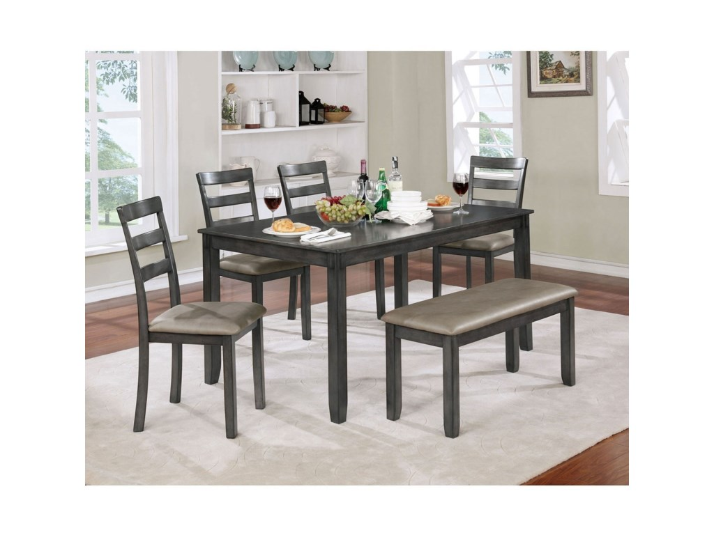 Gloria Casual 6 Piece Dining Set With Bench And Faux Leather Seats By Furniture Of America At Rooms For Less
