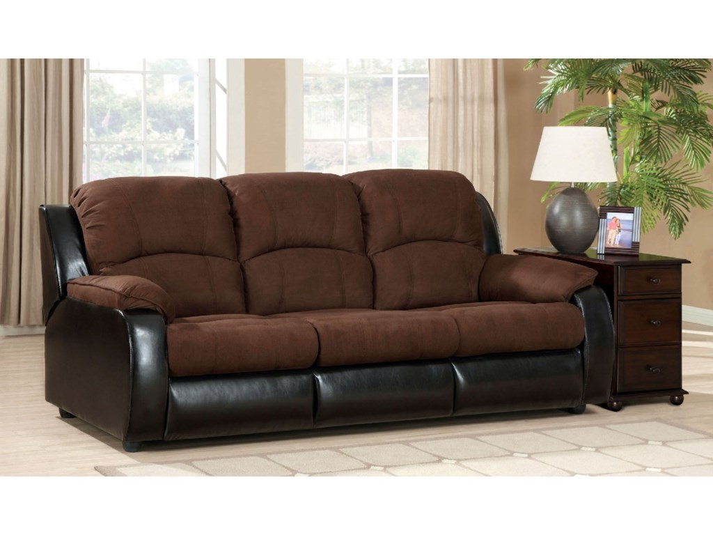 Furniture Of America Grande Two Tone Queen Sleeper Sofa In Microfiber And Leatherette Upholstery