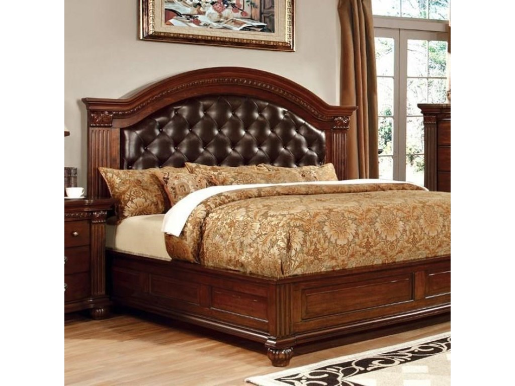 Grandom Traditional California King Bed With Upholstered Headboard
