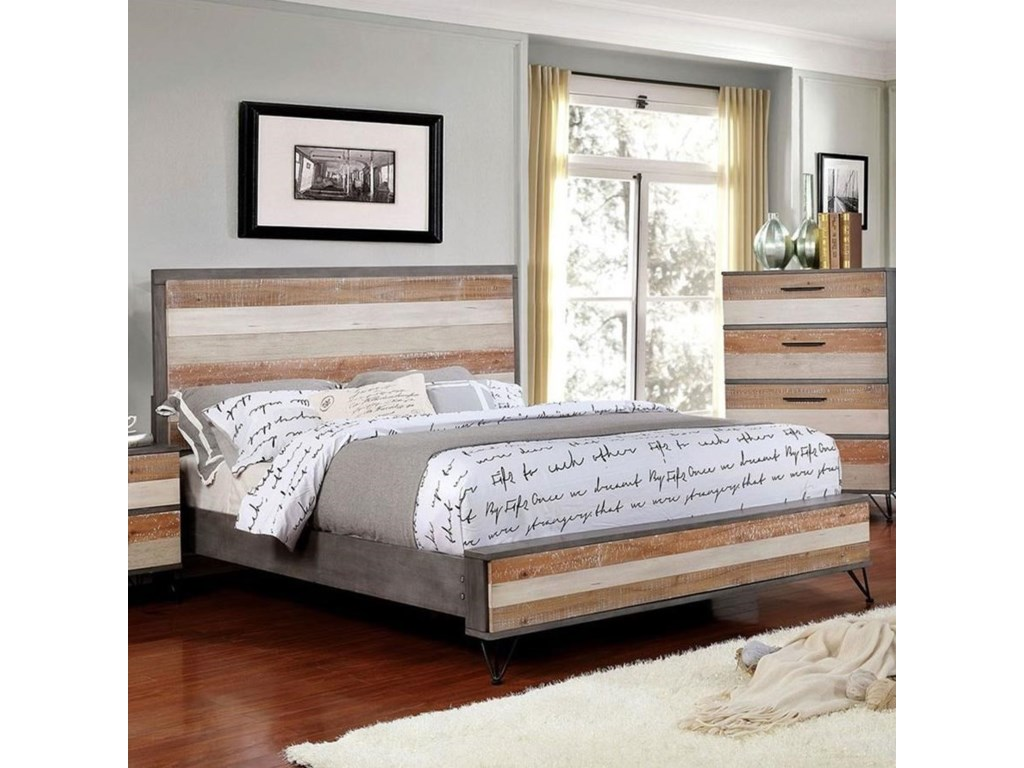 Hasselt Rustic King Bed by Furniture of America at Dream Home Furniture