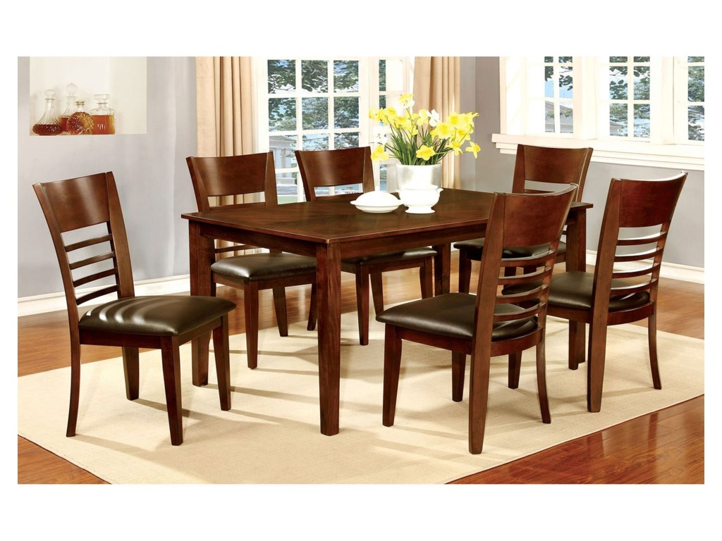 Hillsview Dining Table and Chair Set for Six by Furniture of America at Sam  Levitz Furniture