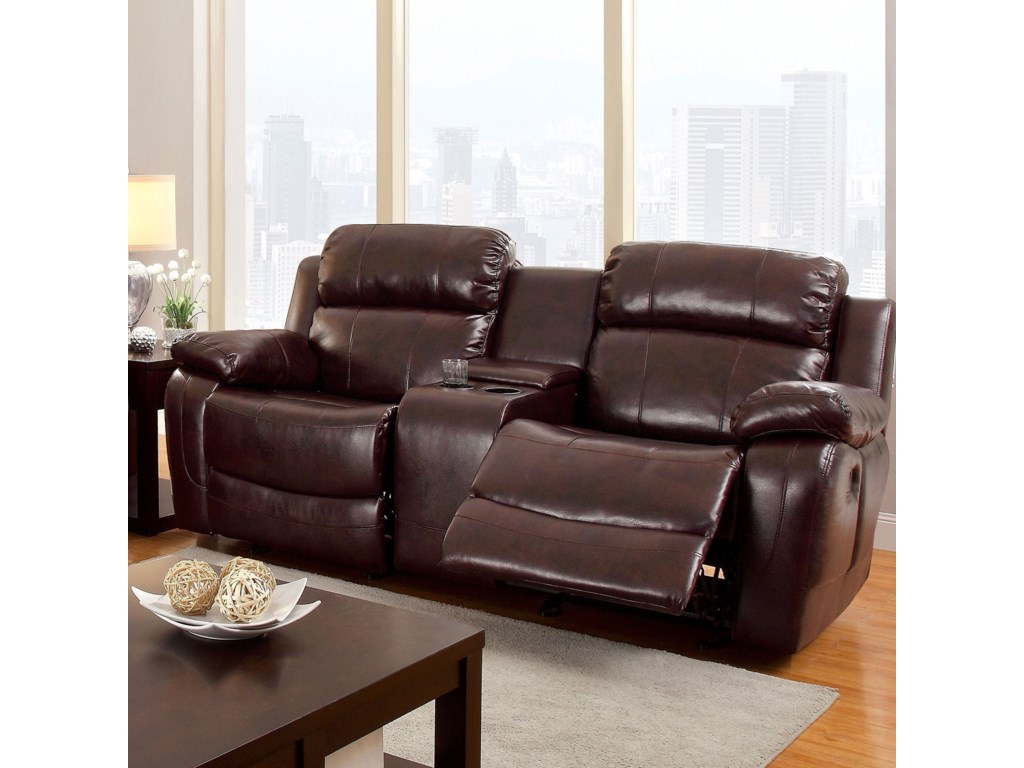 Furniture Of America Hughes Reclining Loveseat With Center Console