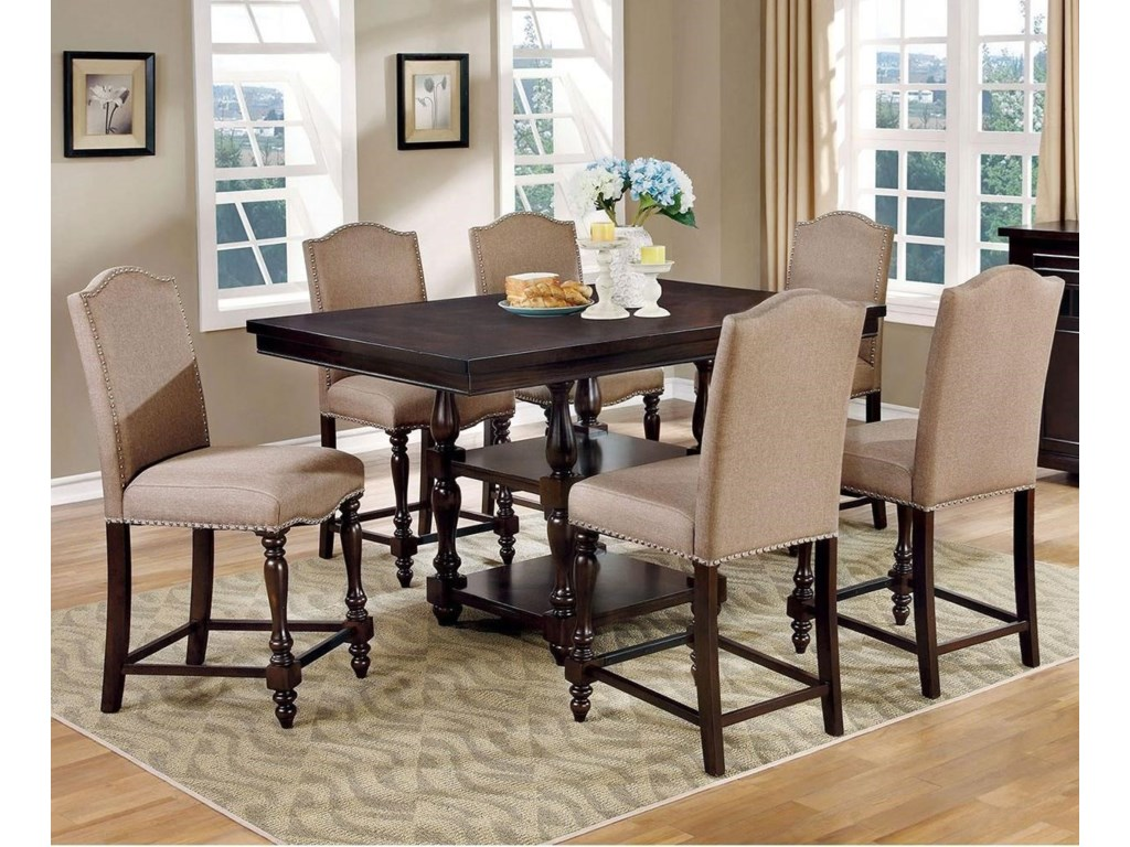 Furniture of America HurdsfieldTable and 6 Chairs