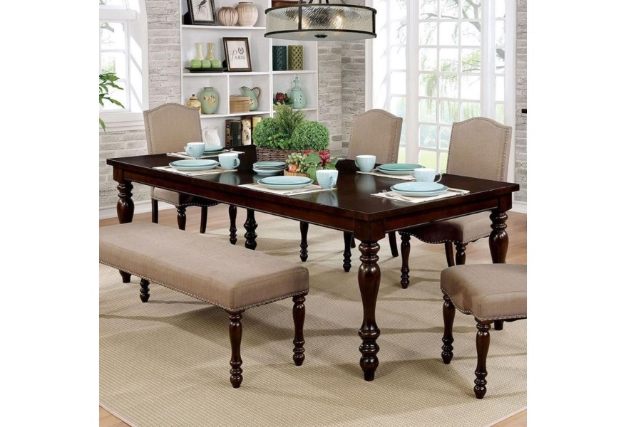 Hurdsfield Transitional Dining Table with 1 Table Leaf by Furniture of  America at Dream Home Interiors