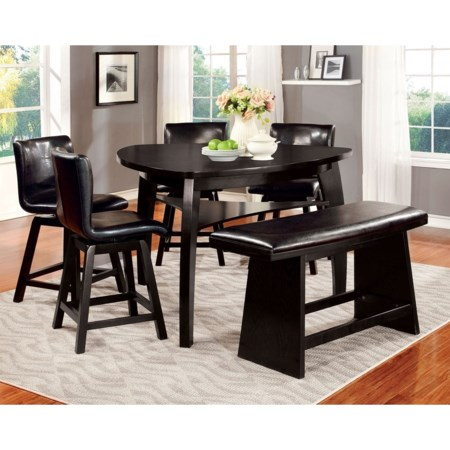 Table, 4 Chairs and Bench Set