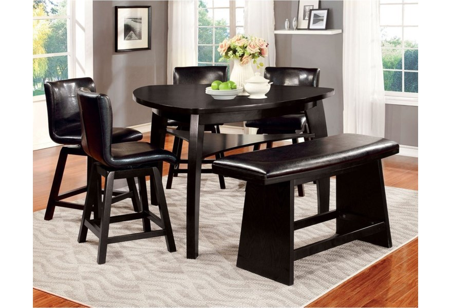 Furniture Of America Foa Hurley Cm3433pt 6pc Contemporary Table With 4 Chairs And Bench Del Sol Furniture Table Chair Set With Bench