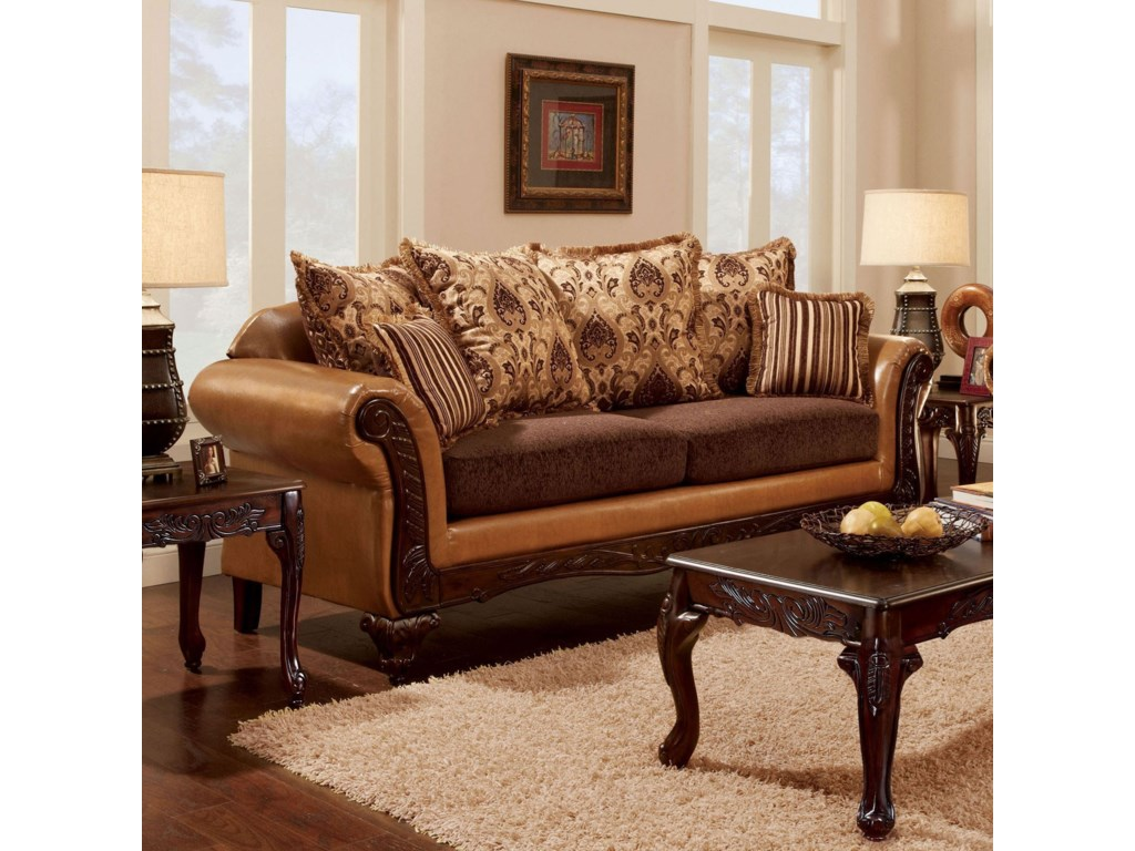 Isabella Traditional 2 Tone Sofa With Intricate Wood Trim By Furniture Of America At Rooms For Less