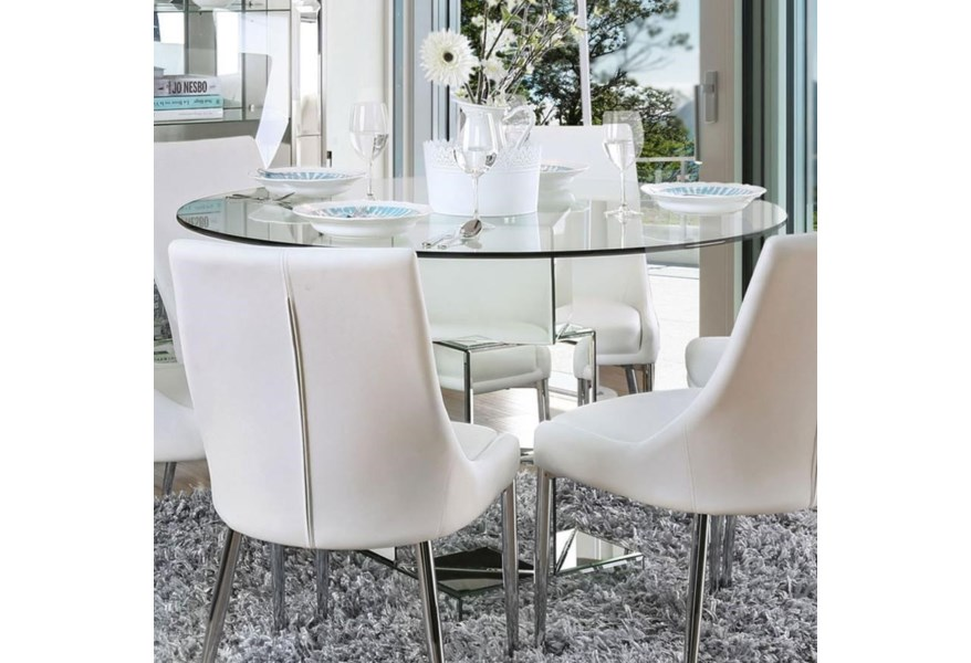 Furniture Of America Foa Izzy Cm3384rt Table Contemporary Dining Table With Mirror Base And Glass Top Del Sol Furniture Dining Tables