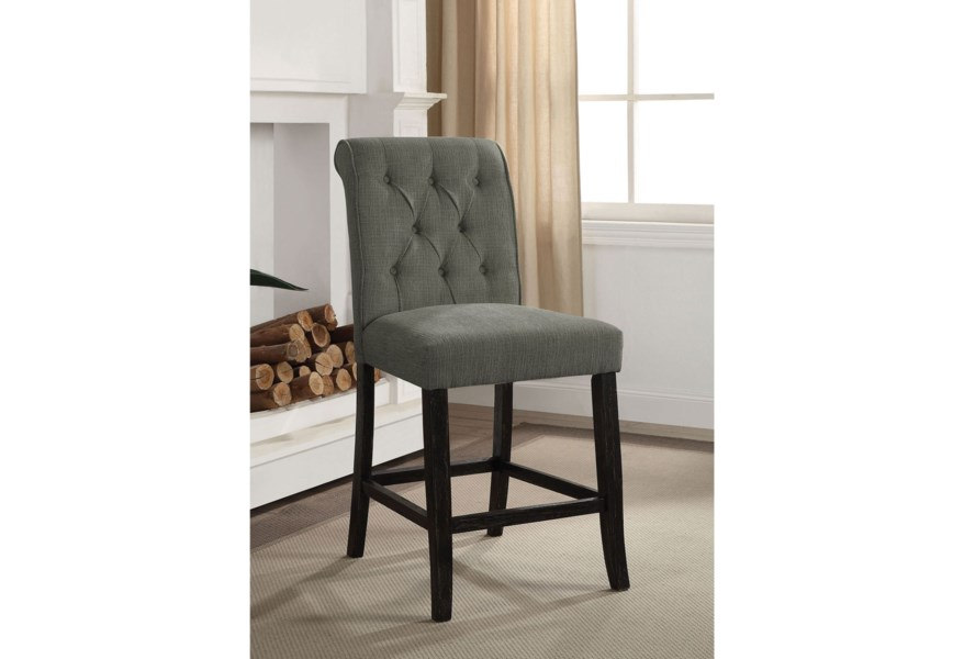Izzy Transitional Counter Height Side Chair 2 Pack With Tufted Back Household Furniture Dining Side Chairs