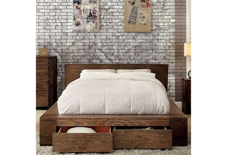 Furniture Of America Janeiro Rustic Queen Platform Bed With