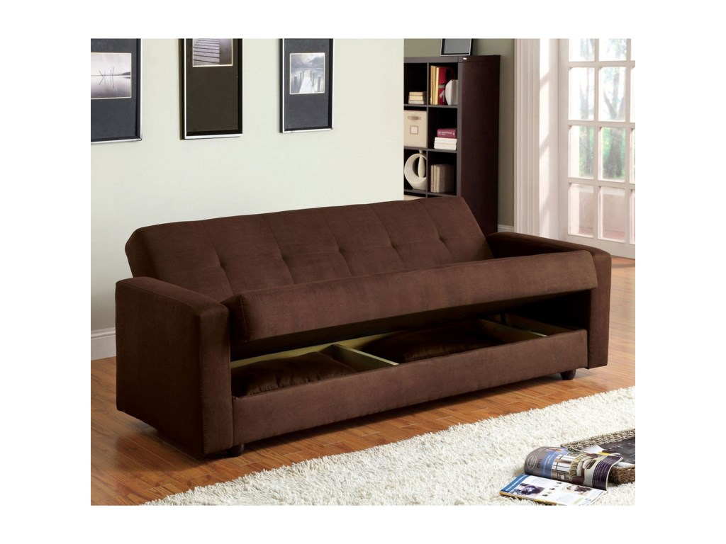 Furniture Of America Jansenmicrofiber Futon Sofa W Storage