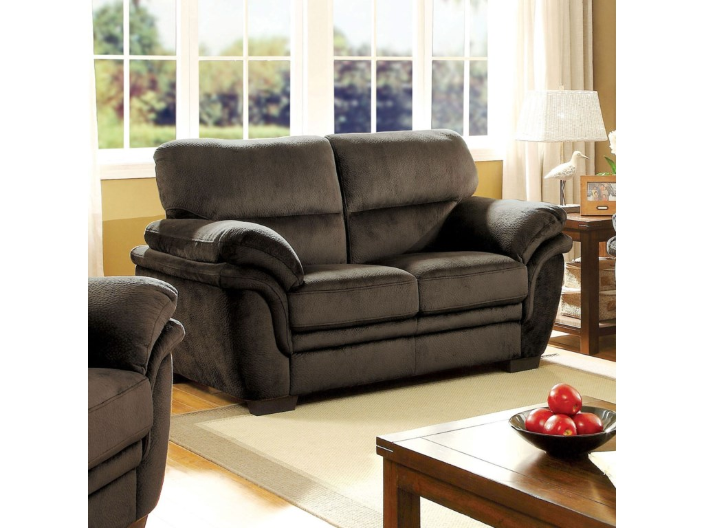 Furniture of america jaya casual loveseat with pillow padding and microfiber upholstery