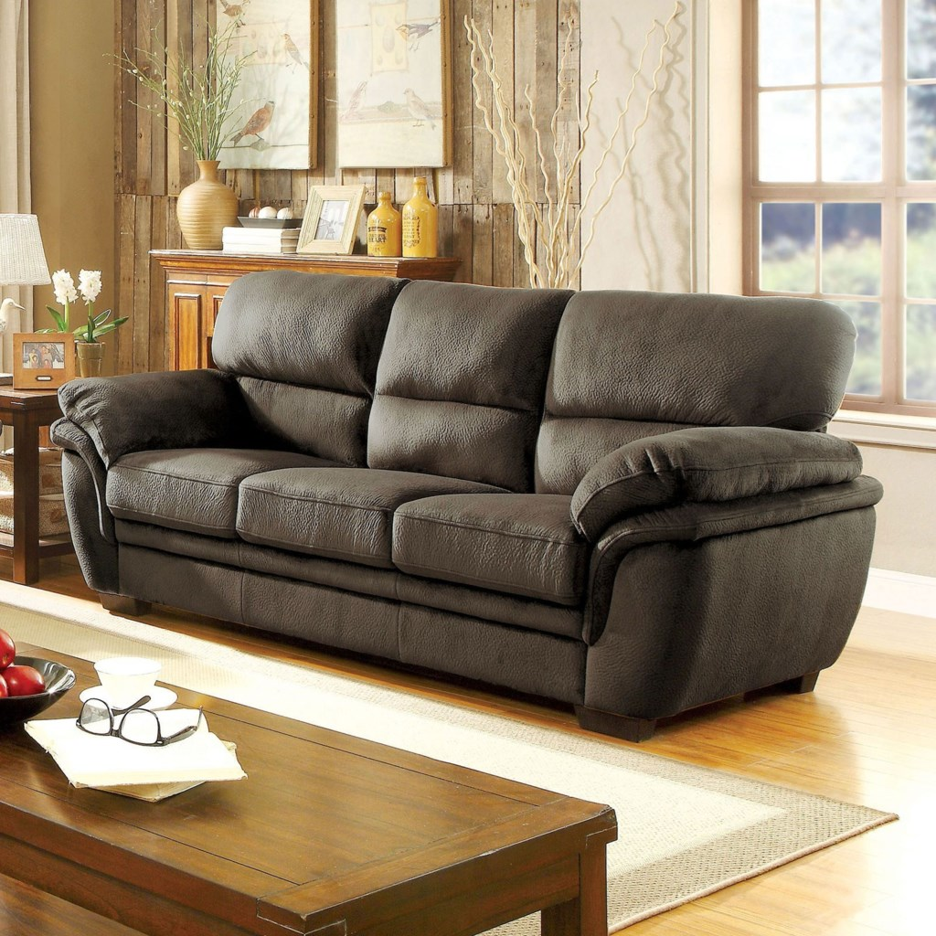 Furniture of america jaya casual sofa with pillow padding and microfiber upholstery
