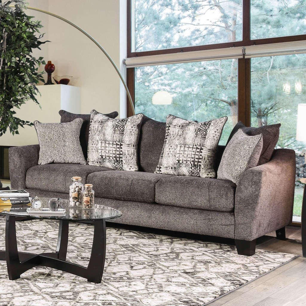 Furniture Of America Jena Contemporary Sofa With Loose Back Pillows