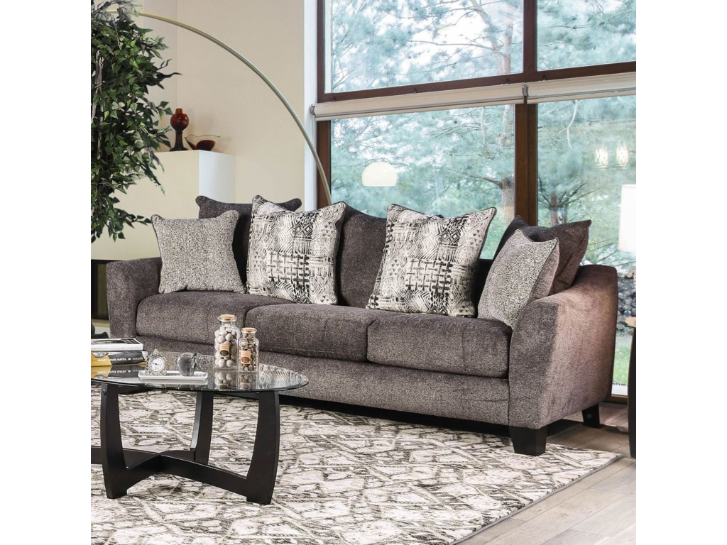 Jena Contemporary Sofa with Loose Back Pillows by Furniture of America at  Furniture Superstore - NM