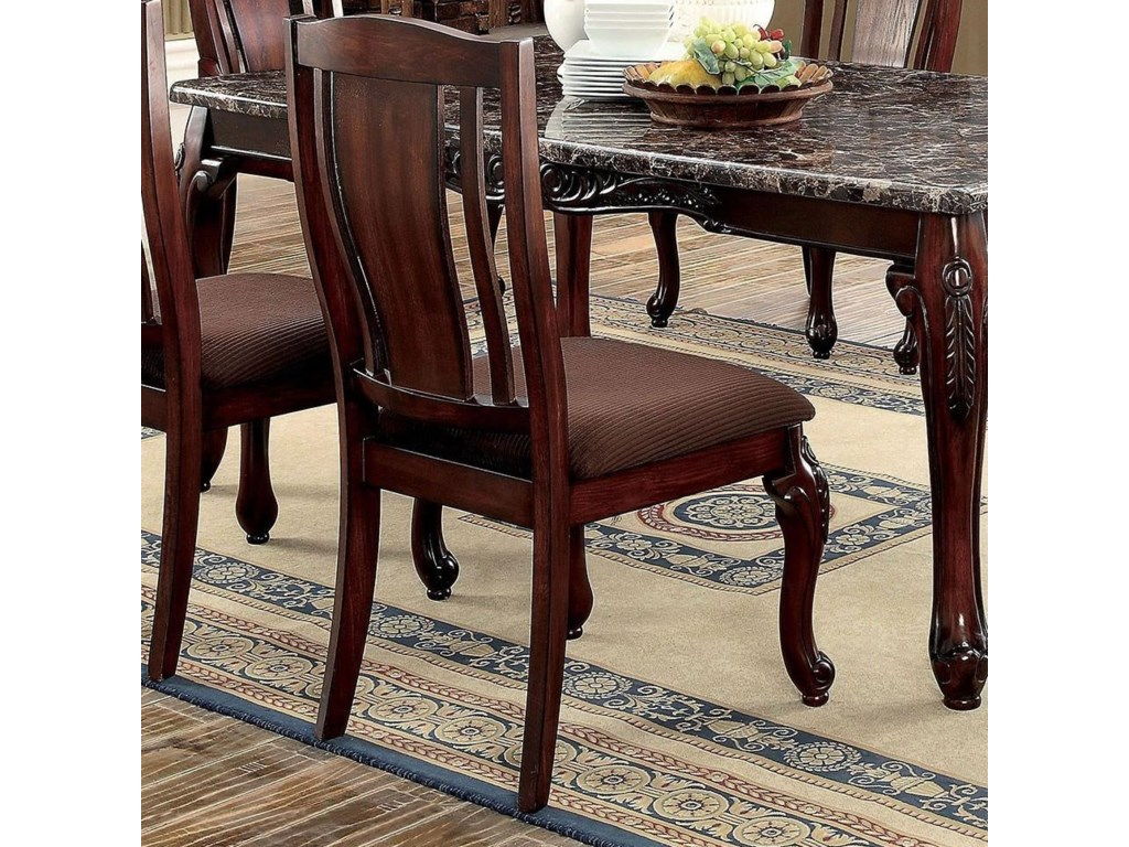 Furniture Of America Johannesburg I Set 2 Traditional Style Side Chairs With Brown Flannel Cushions