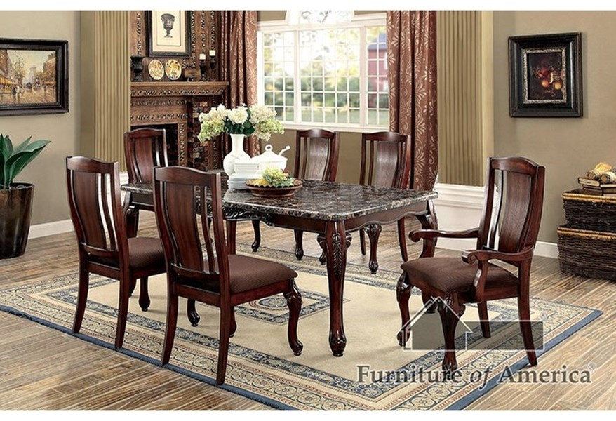 Furniture Of America Johannesburg I Traditional Dining Table With Faux Marble Top Dream Home Interiors Dining Tables