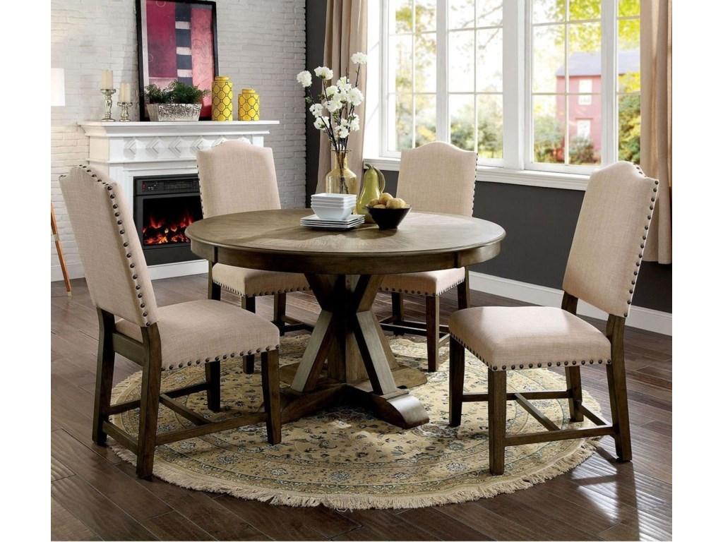 Julia Vintage Round Table And 4 Side Chairs Dining Set By Furniture Of America At Super Nm