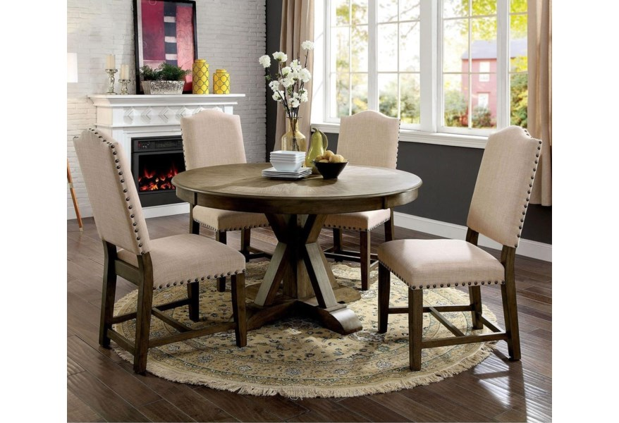 Furniture Of America Foa Julia Cm3014rt 5pc Vintage Round Table And 4 Side Chairs Dining Set Del Sol Furniture Kitchen Tables
