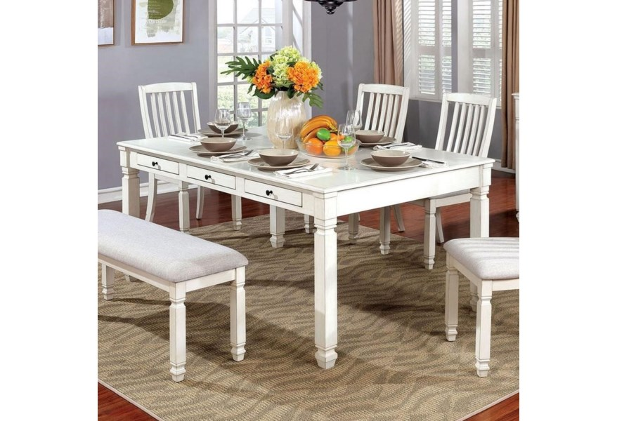 Kaliyah Cottage Rectangular Dining Table with Six Built-In Storage Drawers  by Furniture of America at Dream Home Interiors