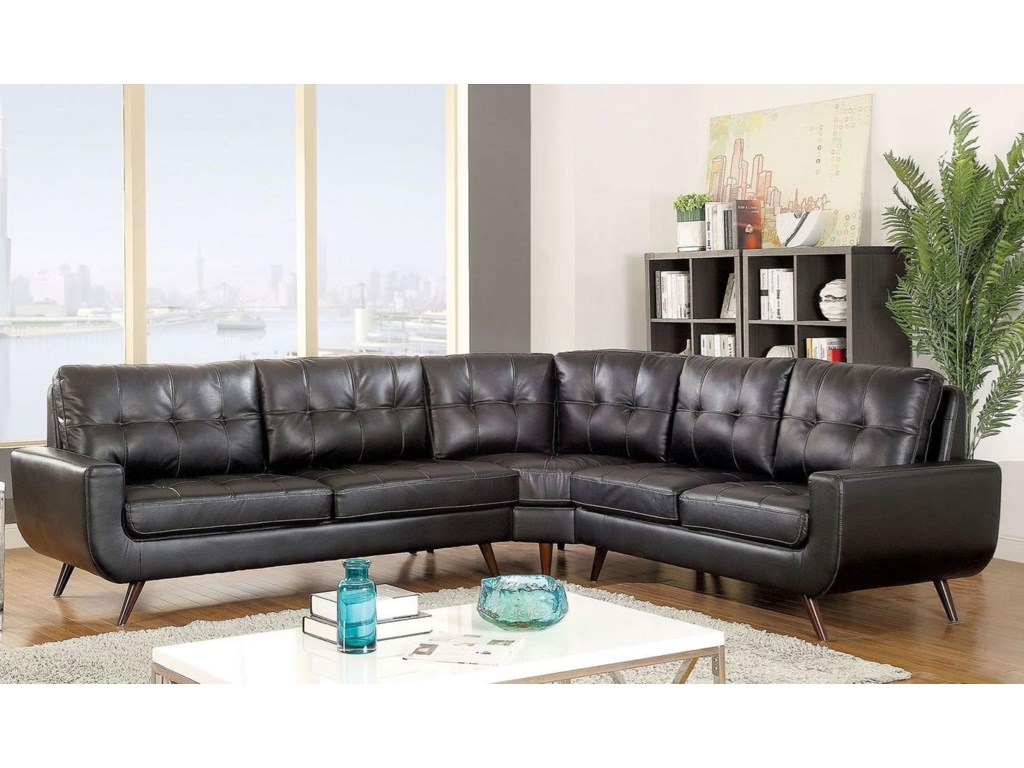 Kate II Mid Century Modern 4 Seat Sectional Sofa by America at Del Sol  Furniture