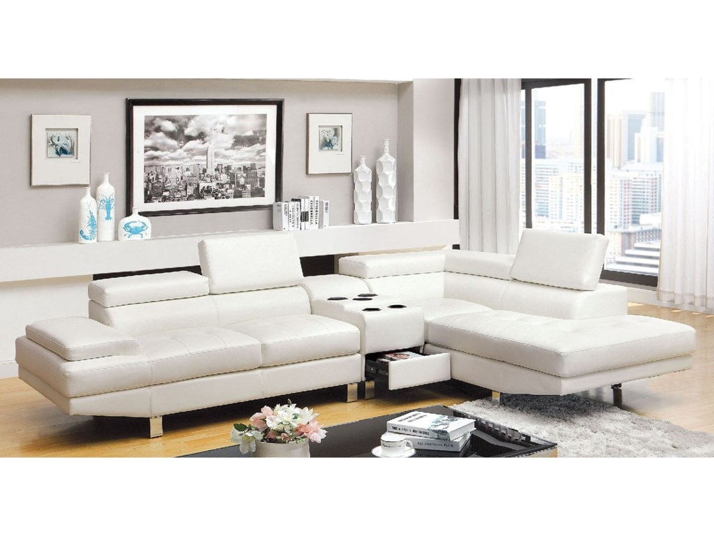 Kemina Contemporary Sectional Sofa with Speaker Console by Furniture of  America at Dream Home Interiors