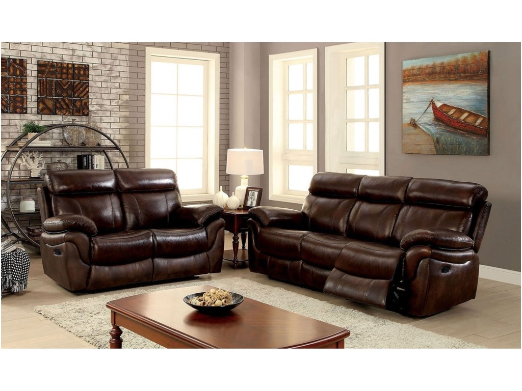 Kinsley Three Piece Reclining Living Room Set - Sofa, Loveseat, Chair by  Furniture of America at Rooms for Less