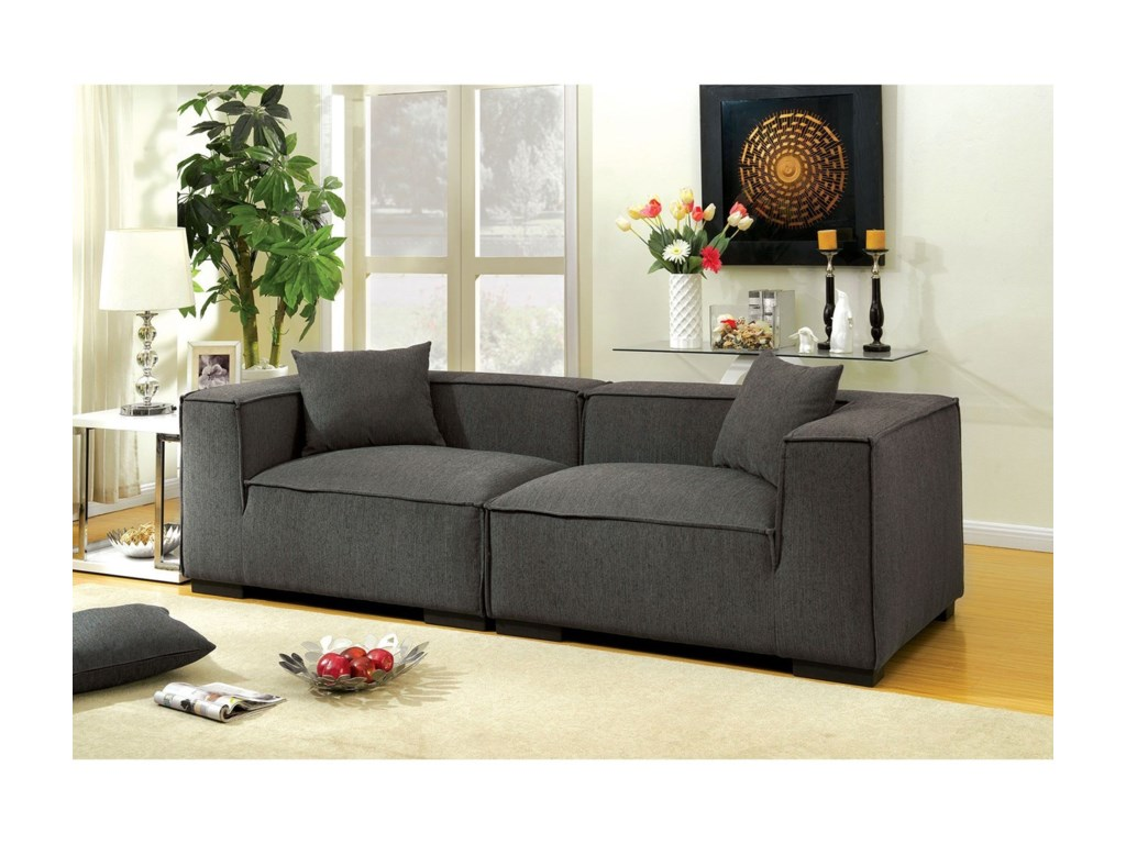 Langdon Contemporary Tuxedo Arm Sofa With Low Back By Furniture Of America At Rooms For Less