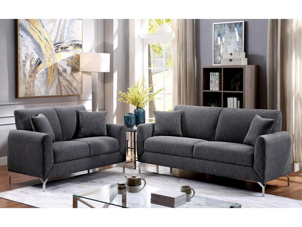 Lauritz Gray Sofa, Loveseat and Chair w/ Metal Legs Set