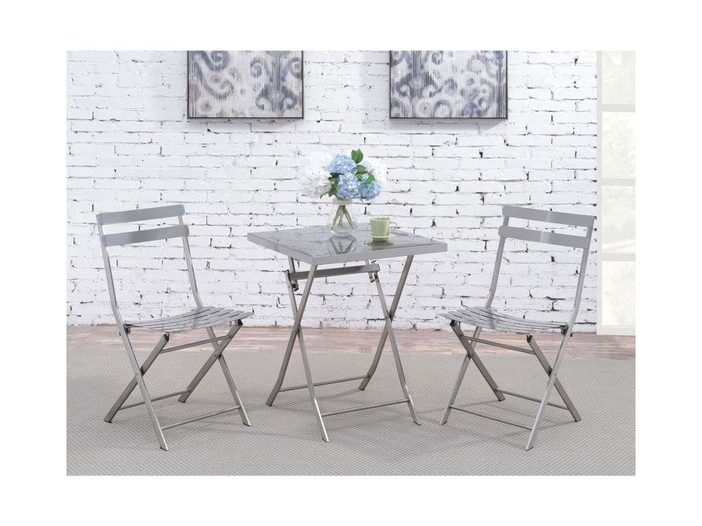 Furniture of America LilahStainless Folding Table and Chair Set