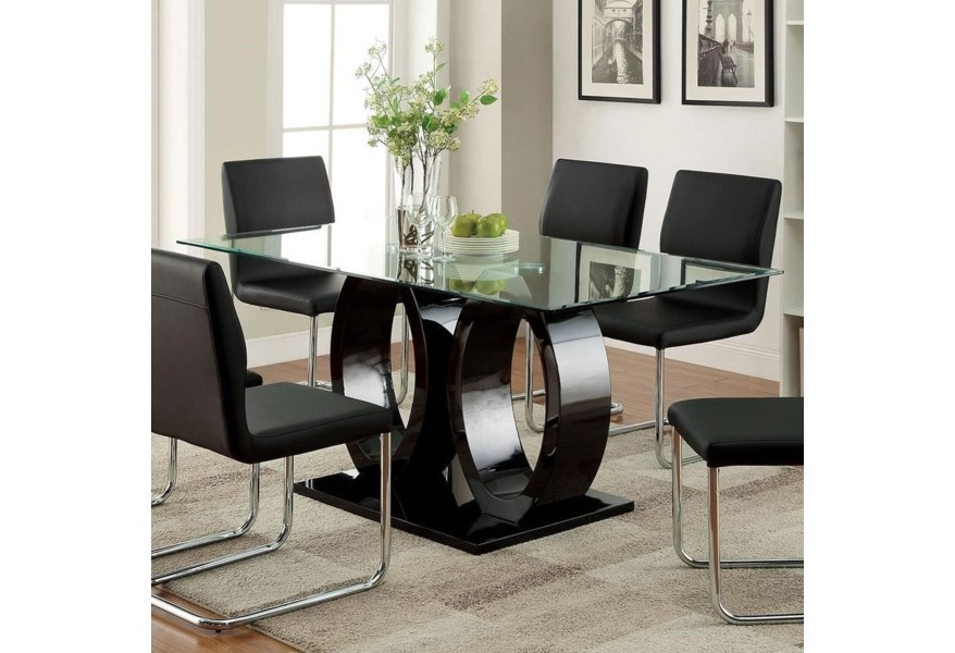Lodia I Contemporary Rectangular Dining Table With Glass Top Household Furniture Dining Tables