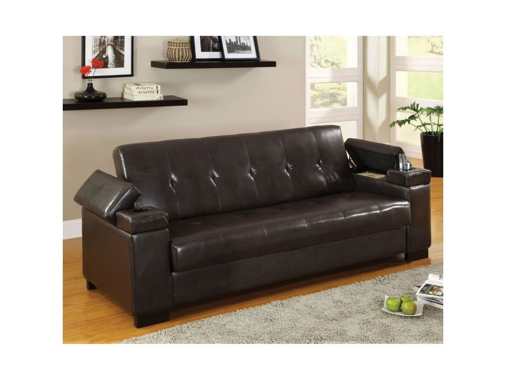 Furniture Of America Loganleatherette Futon Sofa W Storage