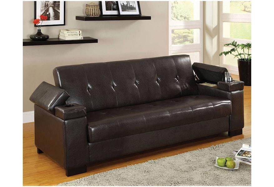 Logan Leatherette Futon Sofa With