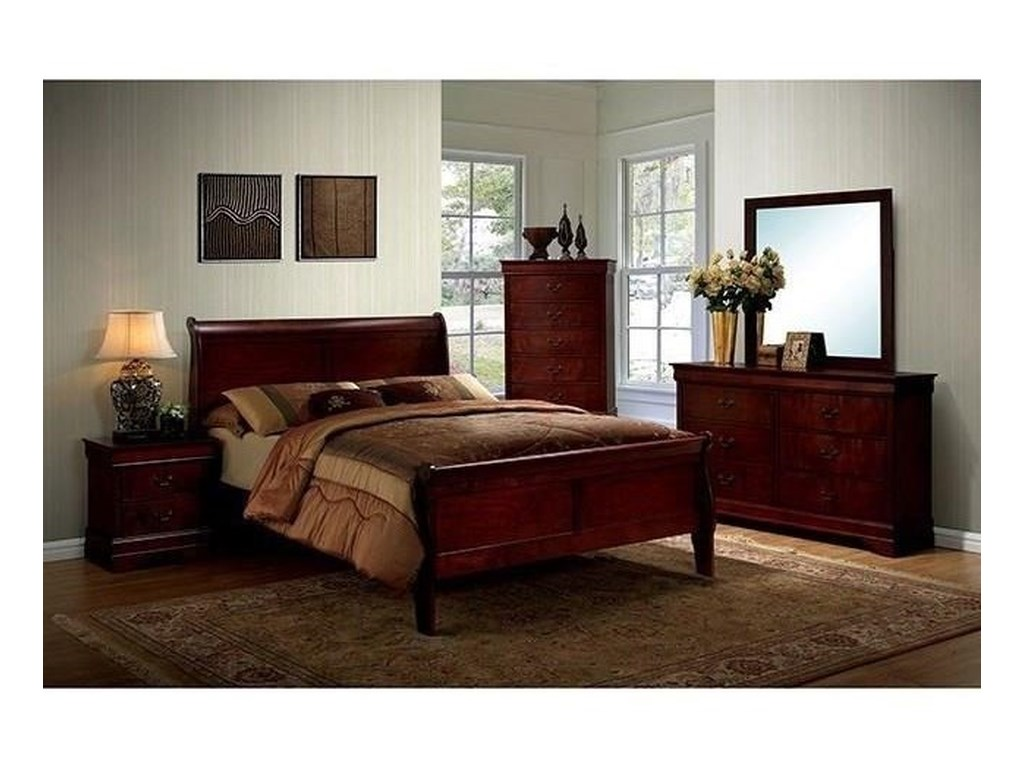 Furniture of America Louis Phillippe IIIQueen Bed and 1NS and Dresser and Mirror