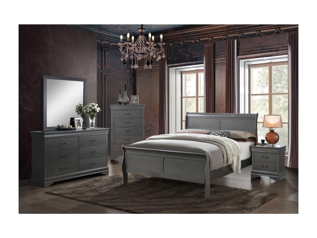 Furniture of America Louis Philippe IIIQueen Bed and 1NS and Dresser and Mirror