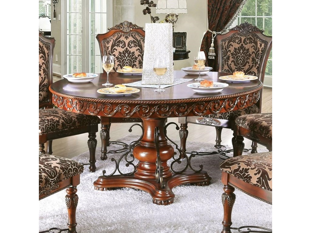 Furniture Of America Lucie Cm3788rt Table Traditional Round