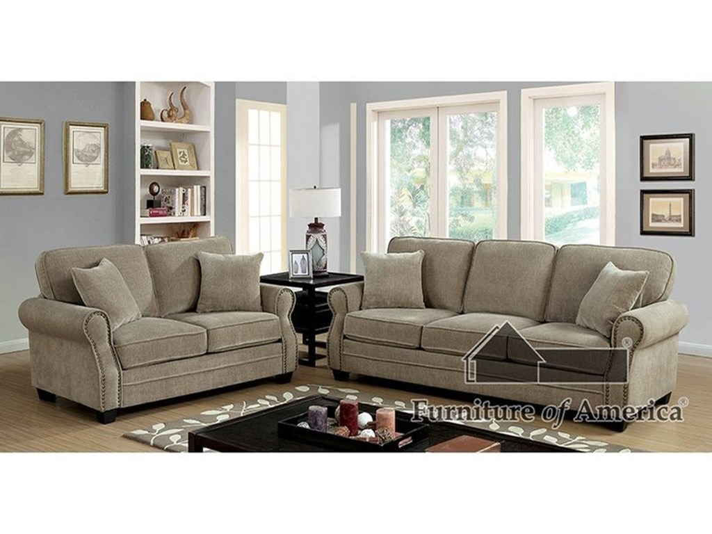 Furniture of America LynneStationary Living Room Group