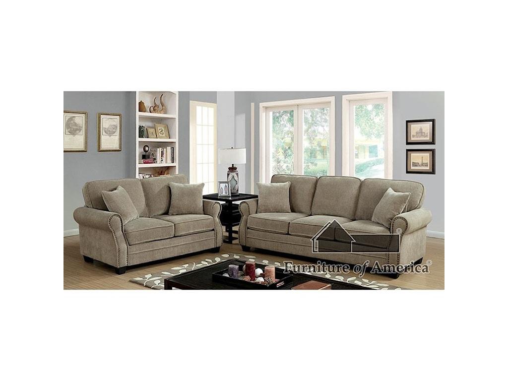 Furniture of America LynneSofa + Love Seat + Chair