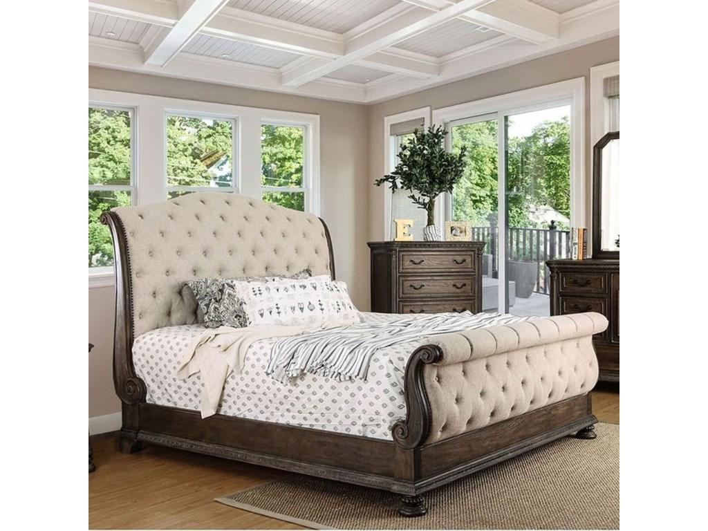 Lysandra Upholstered California King Sleigh Bed by Furniture of America at  Dream Home Interiors